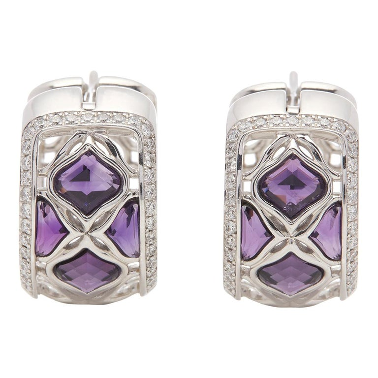 Chopard 18 Karat White Gold Amethyst and Diamond Imperiale Earrings For Sale