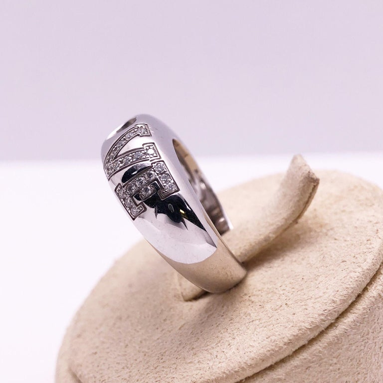 Round Cut Chopard 18 Karat White Gold and .39 Carat Diamond Love Ring For Sale