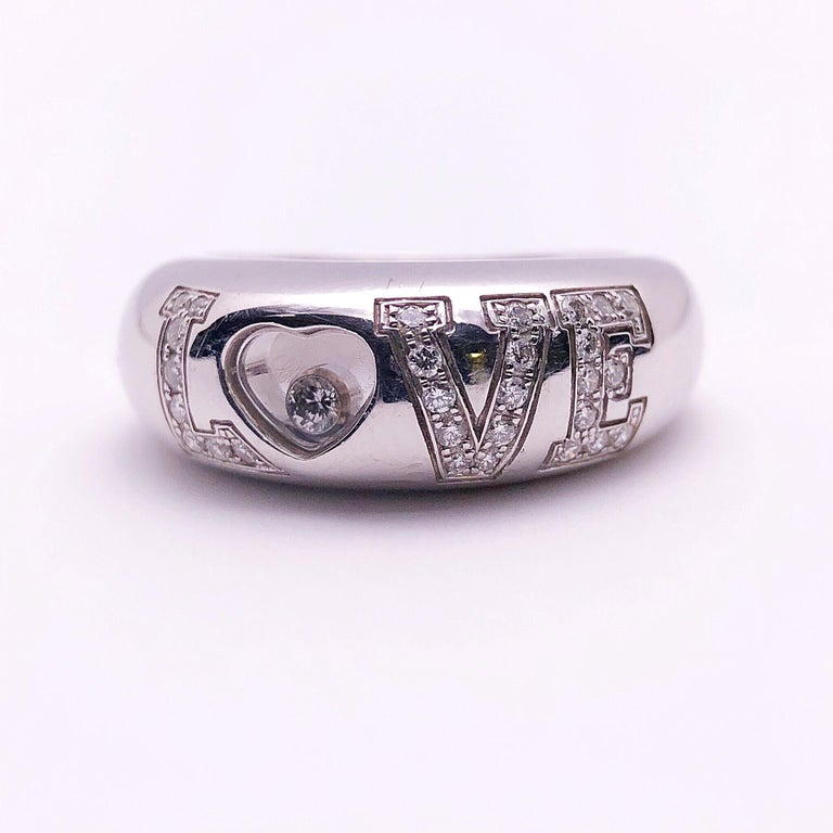 Chopard 18 Karat White Gold and .39 Carat Diamond Love Ring For Sale 1