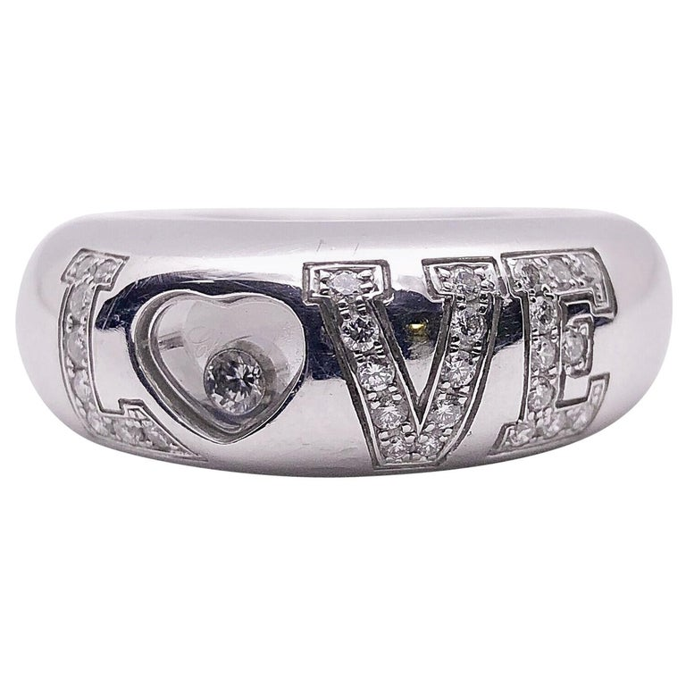 Chopard 18 Karat White Gold and .39 Carat Diamond Love Ring For Sale