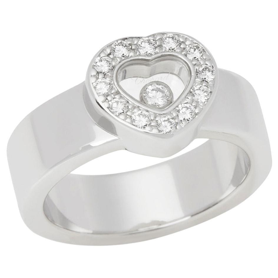 Chopard 18 Karat White Gold Chopard Happy Diamonds Ring