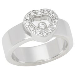 Chopard 18 Karat White Gold Chopard Happy Diamonds Ring