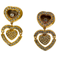 Chopard 18 Karat Yellow Gold and Diamond Happy Amore Heart Earrings