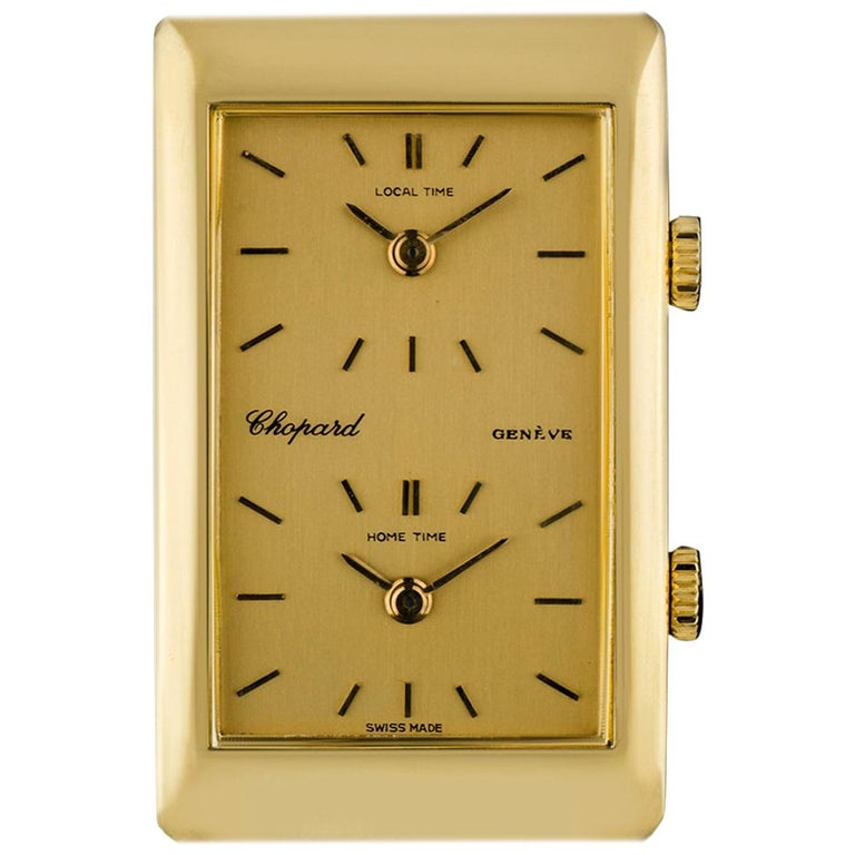 Chopard 18 Karat Yellow Gold Champagne Dial Dual Time Zone Gents 2087 For Sale