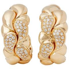 Chopard 18 Karat Yellow Gold Diamond Casmir Earrings