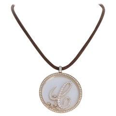 Chopard 18 Karat Yellow Gold Happy Diamond C-Pendant Rope Necklace 36g