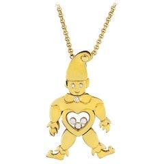 Chopard 18 Karat Yellow Gold Happy Diamond Clown Pendant