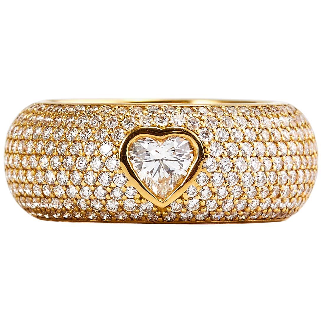 Chopard 18 Karat Yellow Gold Happy Diamond Heart Cut Diamond Ring