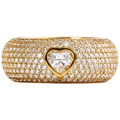Chopard 18 Karat Yellow Gold Happy Diamond Heart Cut Diamond Ring
