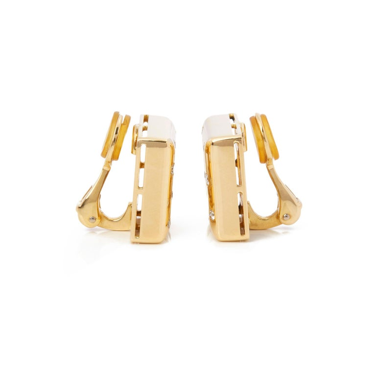 Modern Chopard 18 Karat Yellow Gold Happy Diamonds Square Earrings For Sale