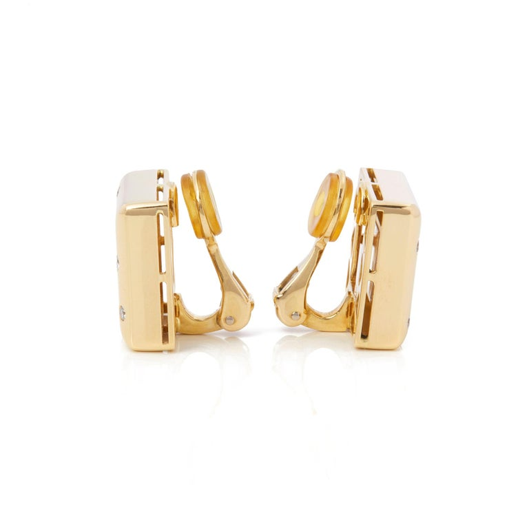 Round Cut Chopard 18 Karat Yellow Gold Happy Diamonds Square Earrings For Sale
