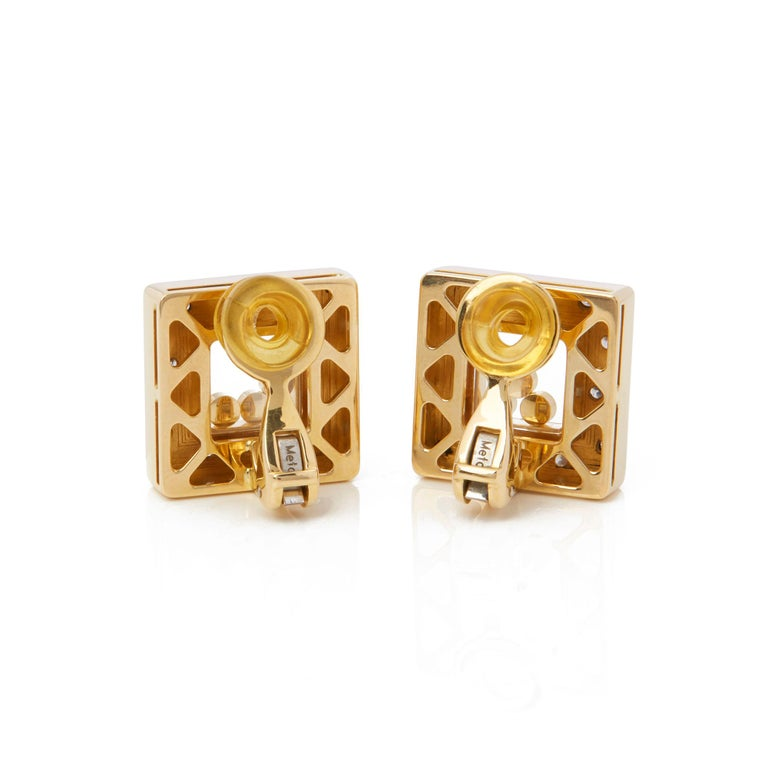 Chopard 18 Karat Yellow Gold Happy Diamonds Square Earrings In Excellent Condition For Sale In Bishop's Stortford, Hertfordshire