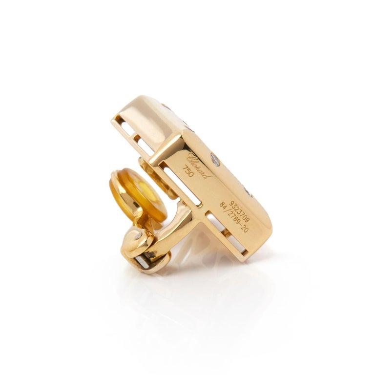 Chopard 18 Karat Yellow Gold Happy Diamonds Square Earrings For Sale 1