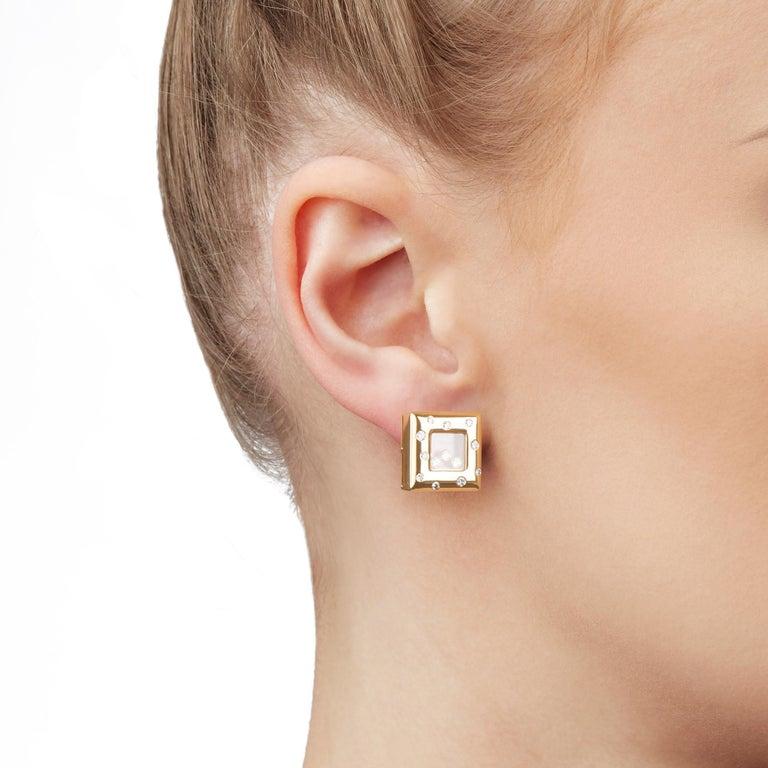 Chopard 18 Karat Yellow Gold Happy Diamonds Square Earrings For Sale 2
