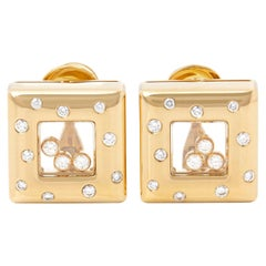 Chopard 18 Karat Yellow Gold Happy Diamonds Square Earrings