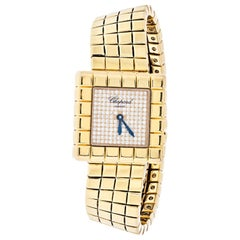 Chopard 18 Karat Yellow Gold Ice Cube Square Diamond Dial Watch