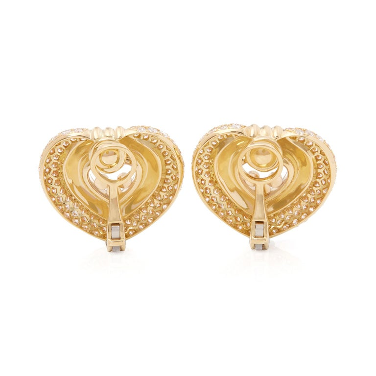 Modern Chopard 18 Karat Yellow Gold Large Happy Diamonds Earrings For Sale