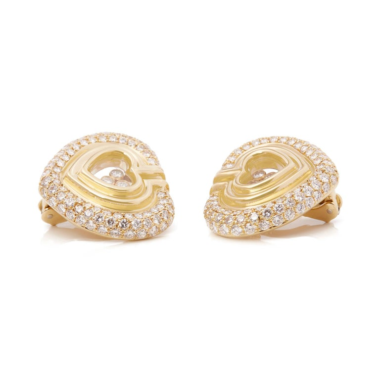 Round Cut Chopard 18 Karat Yellow Gold Large Happy Diamonds Earrings For Sale