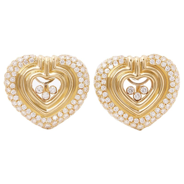 Chopard 18 Karat Yellow Gold Large Happy Diamonds Earrings For Sale