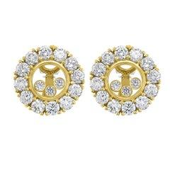 Chopard 18 Karat Yellow Gold Large Happy Diamonds Round Earring Floating Diamond