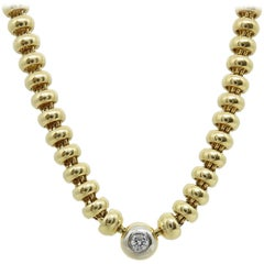 Chopard 18 Karat Yellow Gold Les Chaines Solitaire Diamond Necklace
