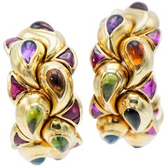 Chopard 18 Karat Yellow Gold Multicolored Gemstone Large Earring