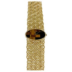 Chopard 18 Karat Yellow Gold Tiger's Eye Bracelet Watch, 1970s
