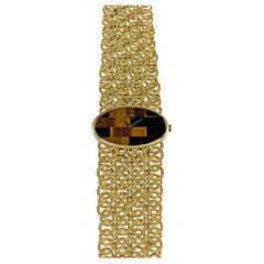 Chopard 18 Karat Yellow Gold Tiger's Eye Bracelet Watch, 1970s