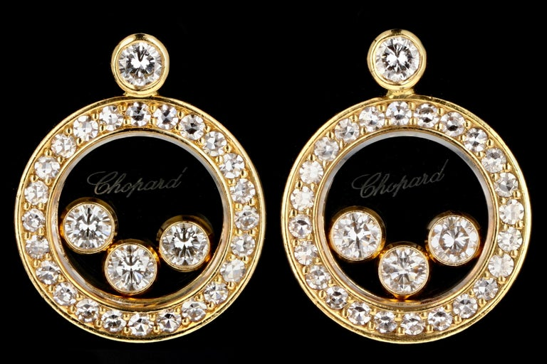 Chopard 18 Karat Happy Diamond Icon Earrings In Excellent Condition For Sale In Cape May, NJ