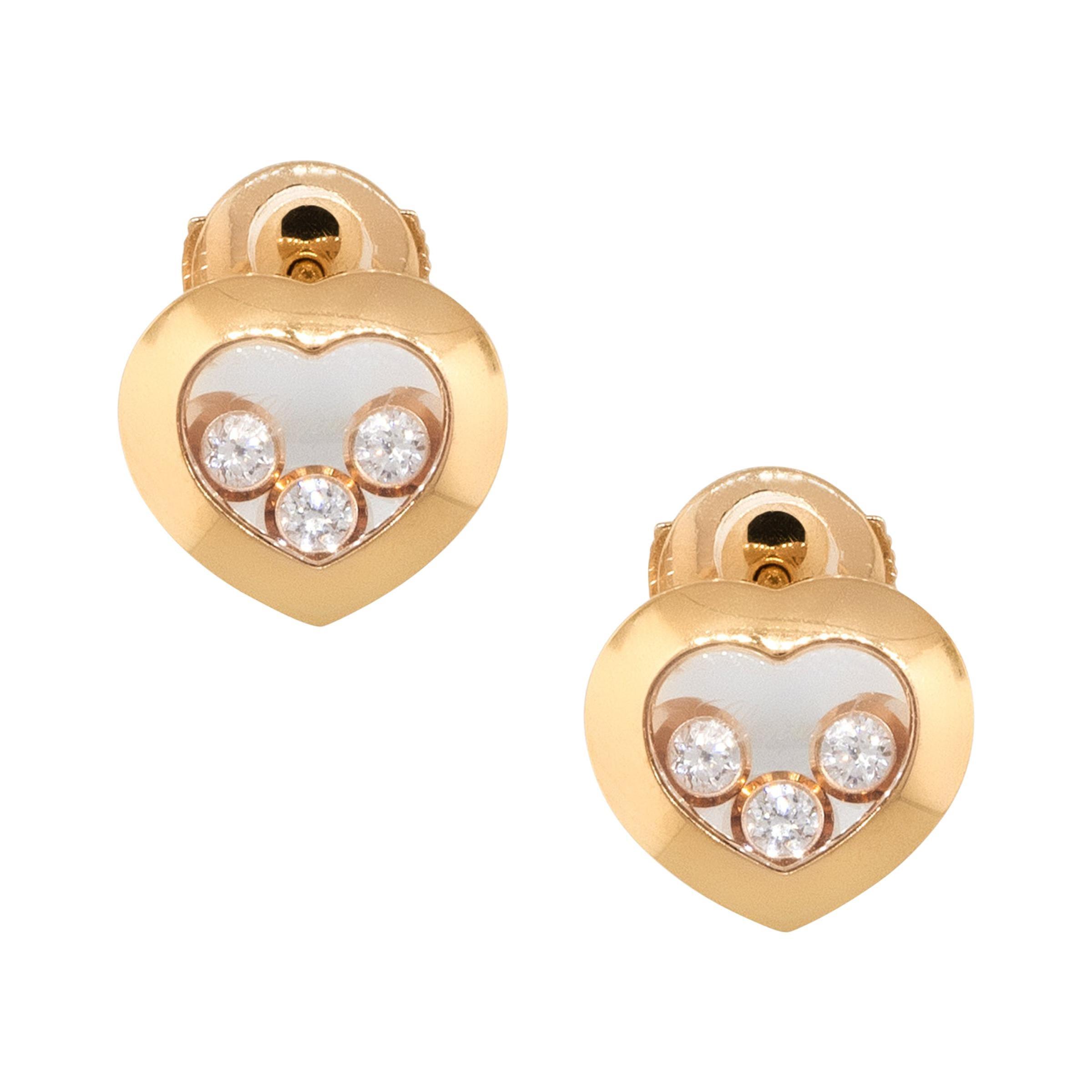 Chopard 18k Rose Gold Happy Diamond Heart Earrings