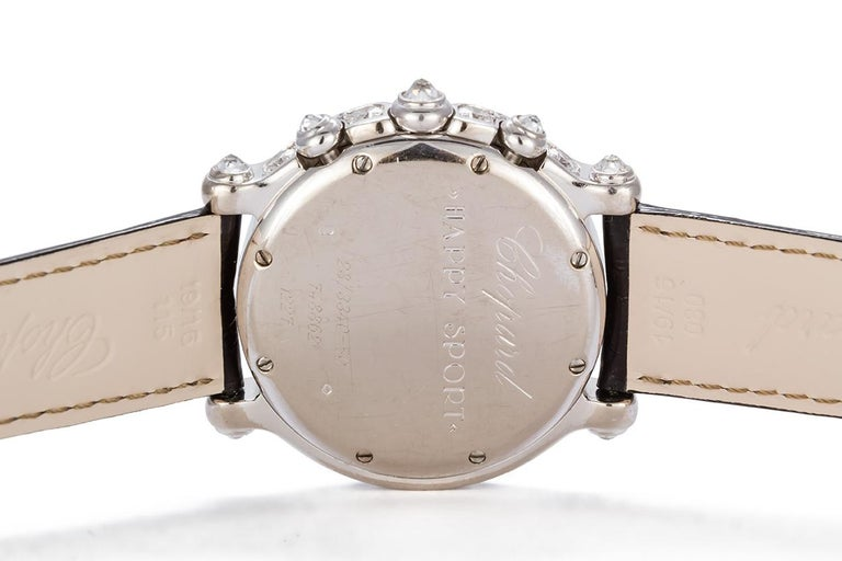 Chopard 18 Karat White Gold and Diamond Happy Sport 28/3340-50 In Good Condition For Sale In Tustin, CA