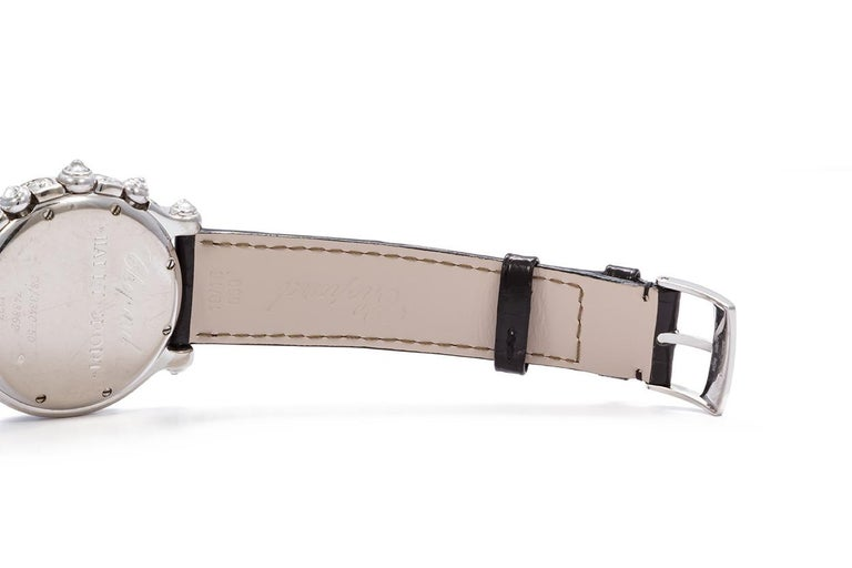 Women's Chopard 18 Karat White Gold and Diamond Happy Sport 28/3340-50 For Sale