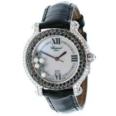 Chopard 18K White Gold Happy Sport White & Black Diamond MOP Watch 4144