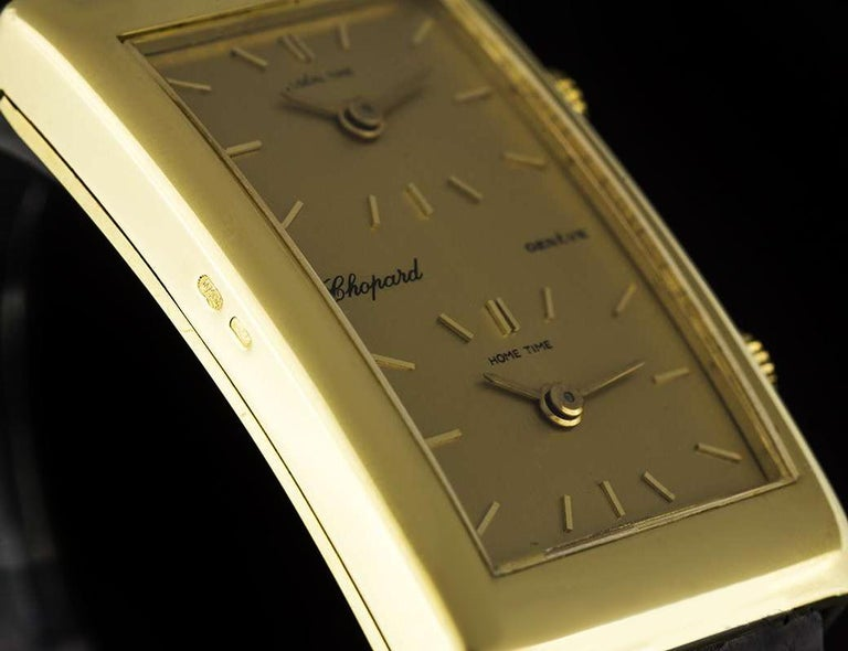 Chopard 18 Karat Yellow Gold Champagne Dial Dual Time Zone Gents 2087 In Excellent Condition For Sale In London, GB