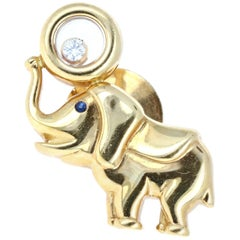 Chopard 18 Karat Yellow Gold, Diamond and Sapphire Happy Diamond Elephant Pin