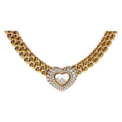 Chopard 18k Yellow Gold Happy Diamond Heart Chocker Necklace 2.59 Cts. 117.5g