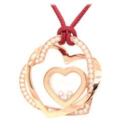 Chopard 18KT Rose Gold Happy Diamond Interlocking Heart Pendant Red Leather Rope