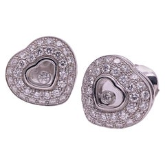 Chopard 18KT WG 1.76Ct. Diamond & Single Floating Diamond Puffed Heart Earrings