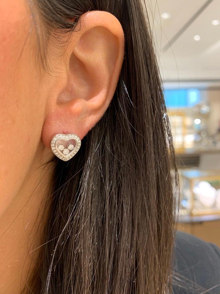 Modern Chopard 18 Karat Gold Happy Diamond Heart Stud Earrings with 3 Floating Diamonds For Sale