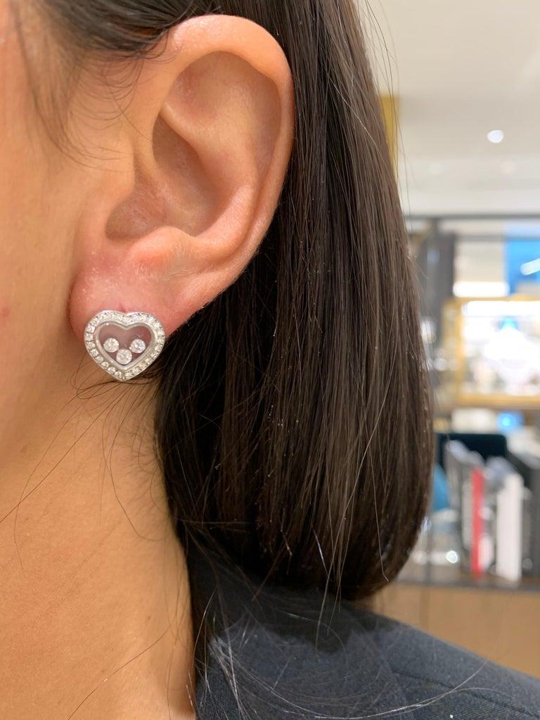 Round Cut Chopard 18 Karat Gold Happy Diamond Heart Stud Earrings with 3 Floating Diamonds For Sale