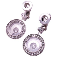Chopard 18 Karat White Gold Happy Spirit 1.34 Carat, Diamond Pendulum Earrings