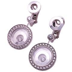 Chopard 18 Karat White Gold Happy Spirit 1.34 Carat, Diamond Pendulum Earrings