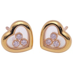 Chopard 18 Karat Gold Happy Diamond Heart Earrings with 3 Floating Diamonds