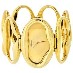 Chopard 1972 18 Karat Yellow Gold Oval Link Bracelet Wristwatch