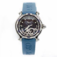 Chopard 28/8897/8 Happy Diamond Womens Quartz Stainless Watch Dolphin Blue Ba...