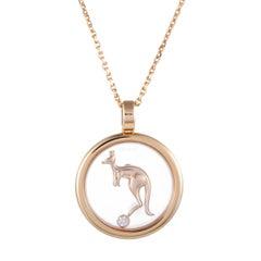 Chopard Animal World 18 Karat Gold Floating Diamond Kangaroo Pendant Necklace