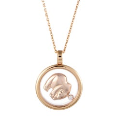 Chopard Animal World 18 Karat Rose Gold Floating Diamond Bear Pendant Necklace
