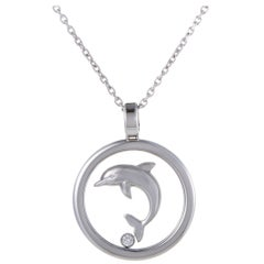 Chopard Animal World 18 Karat White Gold Diamond Dolphin Pendant Necklace