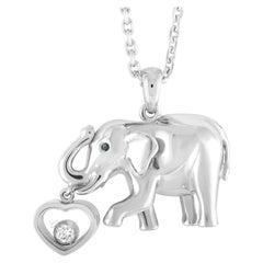 Chopard Animal World 18 Karat White Gold and Floating Diamond Elephant Pendant
