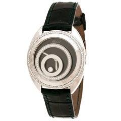 Chopard Black 18K White Gold Diamonds Happy Spirit Women's Wristwatch 32 mm